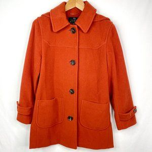 Collection By Gallery Orange Hooded Peacoat XS